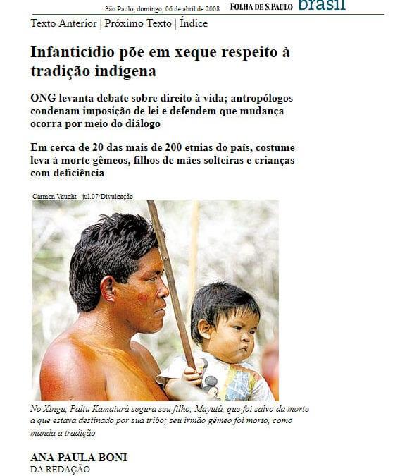 Folha de São Paulo aborda infanticídio e trabalho da Atini